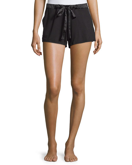 Fleur't Belle Epoque Satin-Trim Lounge Shorts, Black