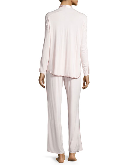 Fleur't at Night Silk-Collar Pajama Set, Heavenly Pink