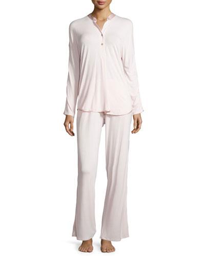 Fleur't at Night Silk-Collar Pajama Set, Heavenly Pink