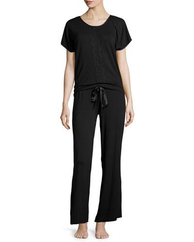 Breathless Lace-Front Short-Sleeve Pajama Set, Black