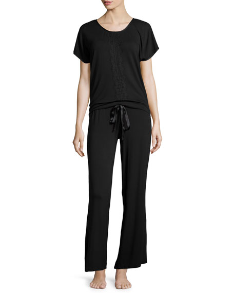 Fleur't Breathless Lace-Front Short-Sleeve Pajama Set, Black