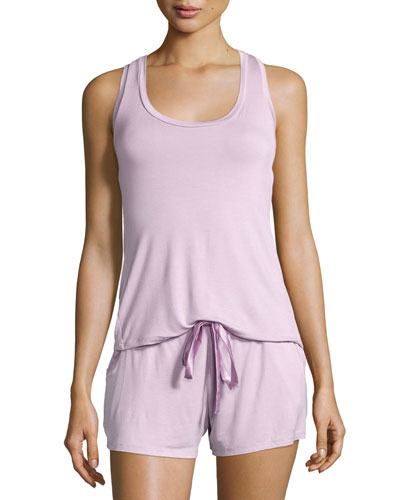 Belle Epoque Lace-Back Short Pajama Set, Orchid Bloom