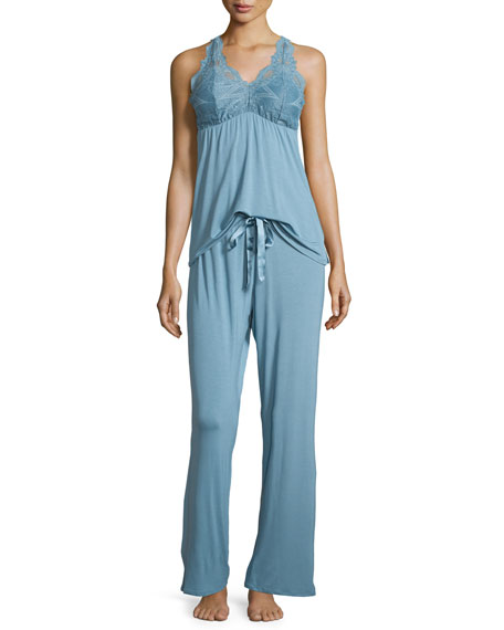 Fleur't Belle Epoque Lace-Inset Pajama Set, Adriatic Blue