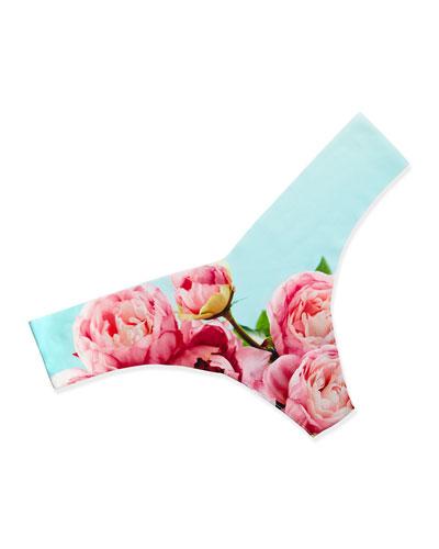 Photo Op Floral-Print Thong, Peony Print