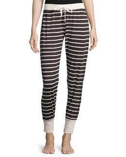 Drawstring-Waist Lounge Pants, Fall Stripe