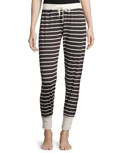 Drawstring-Waist Lounge Pants, Fall Stripe