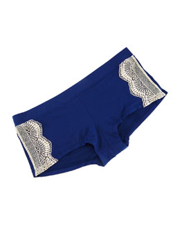 Audrey Lace-Trim Boyshorts, Blue Depths