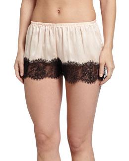 Leighton Lace-Trim Tap Lounge Pants, Pale Peach