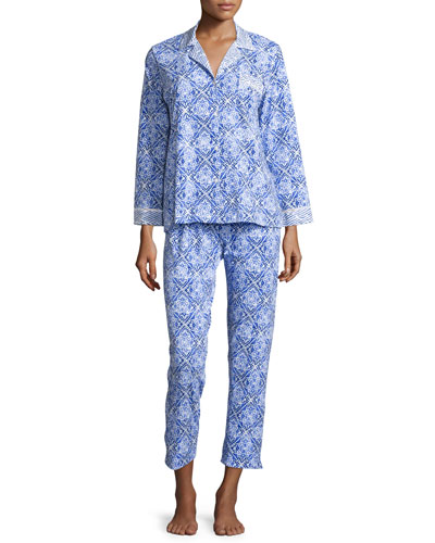 Blue Tile Printed Jersey Pajama Set
