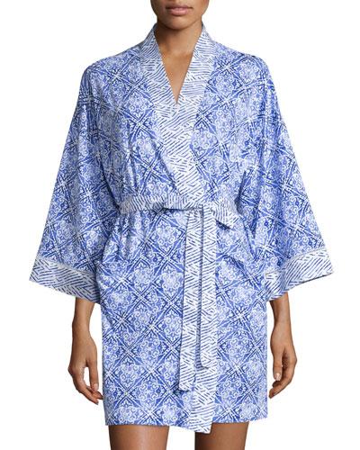 Blue Tile Printed Short Robe, Blue Print