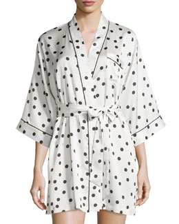 dot-print charmeuse short wrap robe, ivory dot