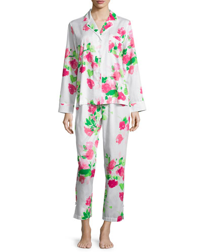 floral-print sateen two-piece pajama set