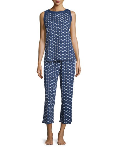 dot-print jersey pajama set, large navy dot