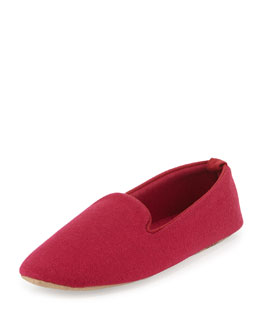 Cashmere-Blend Smoking Slipper, Claret