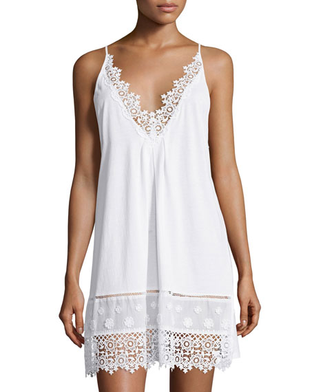 Oscar de la Renta Floral-Embroidered Sleeveless Jersey Chemise,