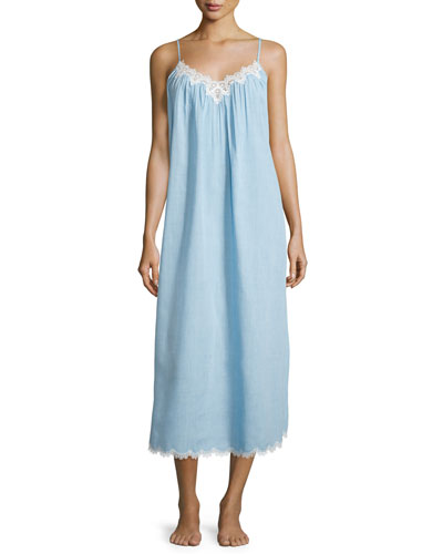 Cross-Dyed Long Gown with Lace-Trim, Pale Blue