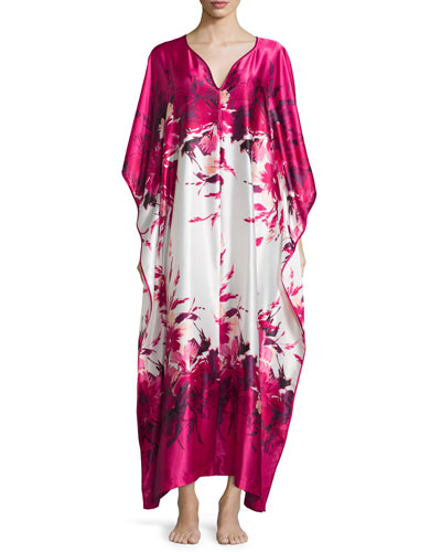 Floral-Print Charmeuse Zip-Front Caftan, Fuchsia Print