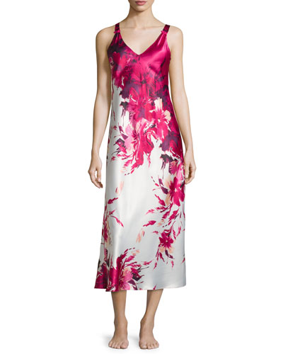 Floral-Printed Charmeuse Long Gown, Fuchsia Print