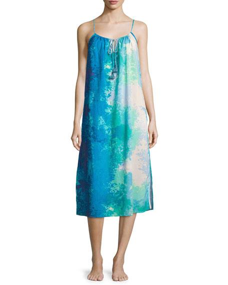 NatoriFloral Stream Printed Cotton Gown
