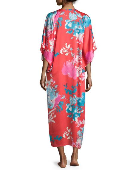 Chianti Floral-Print Lounge Caftan, Women's, Cinnabar