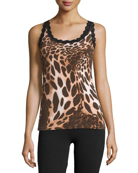 Josie Natori Animal-Print Lace-Trim Camisole, Brown