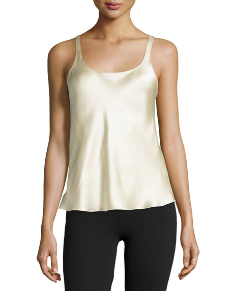 Josie Natori Round-Neck Foundation Tank, Alabaster