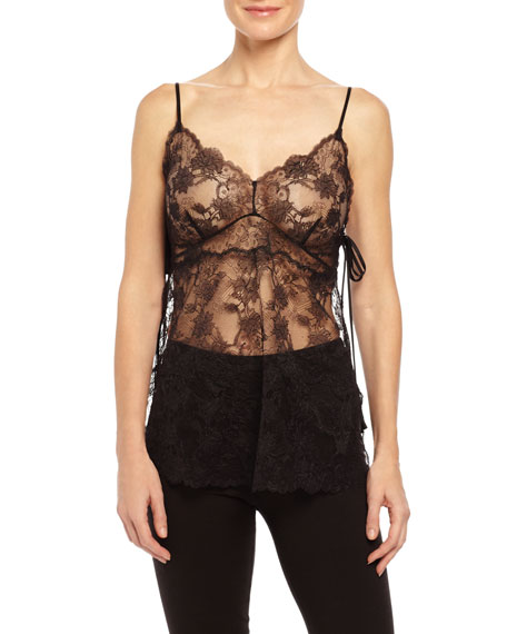 Josie Natori Unlined Chantilly Lace Camisole, Black