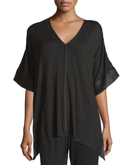 Josie Natori Fuji Half-Sleeve Top, Black