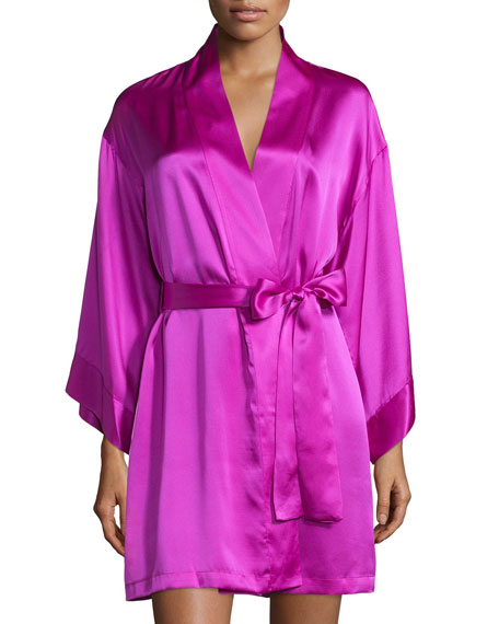 Lolita Belted Short Robe, Purple Haze