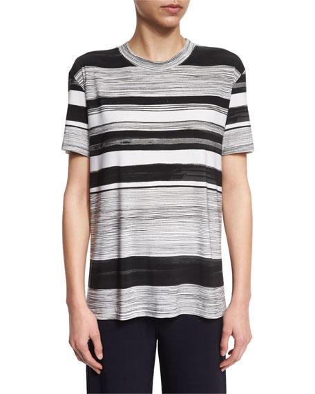 Norma Kamali Multi-Stripe Short-Sleeve Boxy Tee