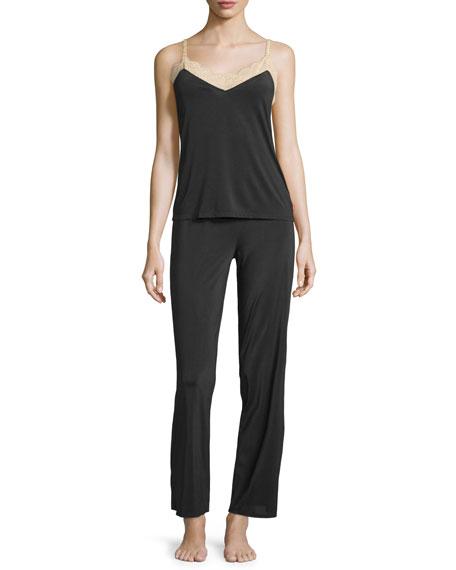 Josie Natori Slinky Basics Lace-Trim Camisole, Black/Cafe