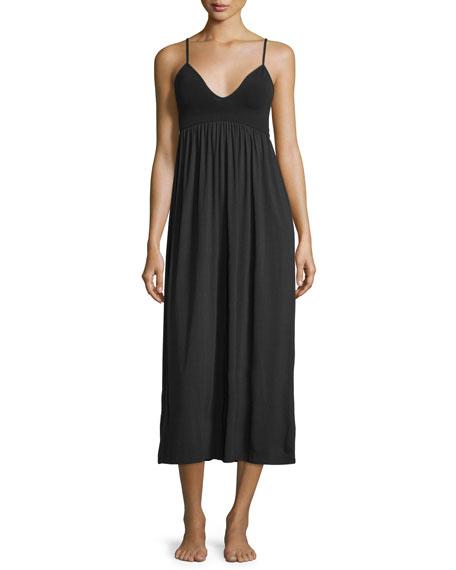 Skin V-Neck Long Gown, Black