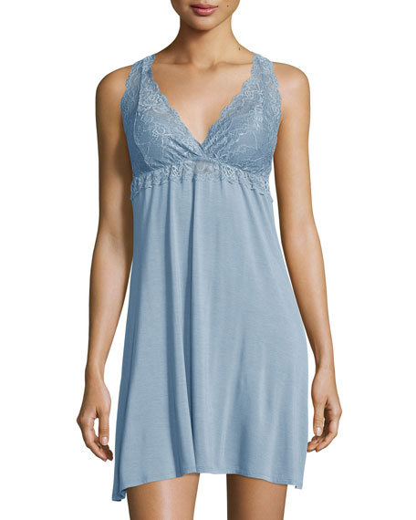 Fleur't Sleeveless Lace Chemise, Adriatic Blue