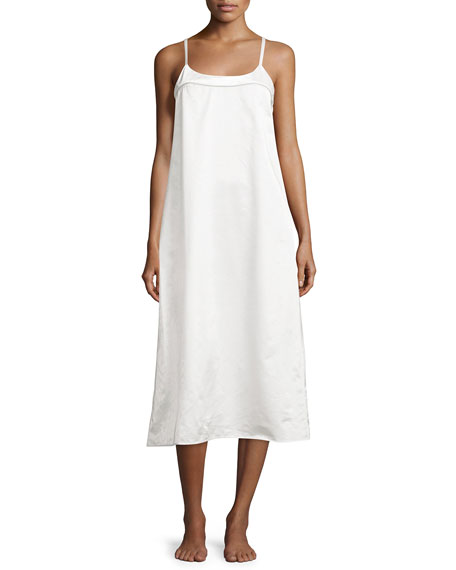 Perla Sleeveless Long Nightgown, White/Fawn