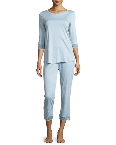 Hanro Valencia Lace-Trimmed Pajama Set, Tourmaline
