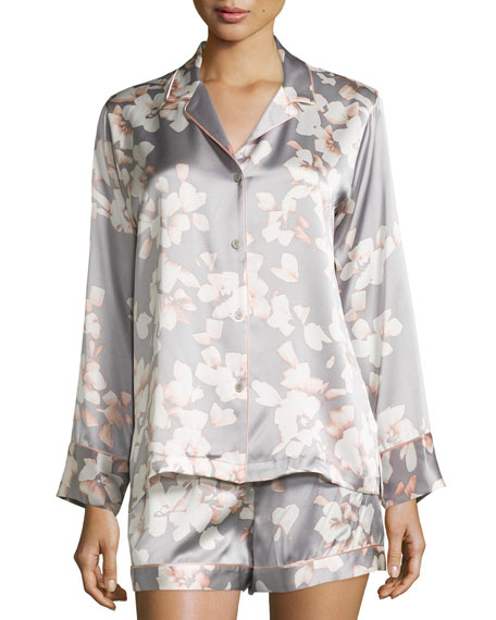Natori Azalea Printed Shorty Pajama Set, Grey Floral