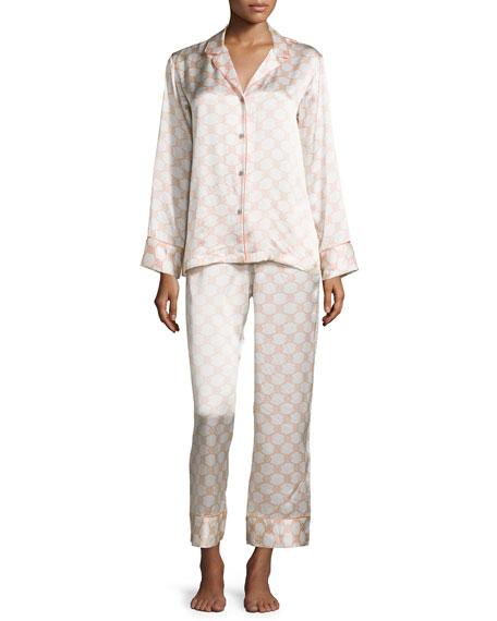 Natori Arabesque Geo-Printed Two-Piece Pajama Set, Blush