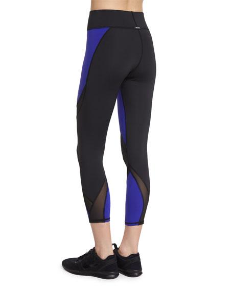 Hydra Colorblock Cropped Sport Leggings, Indigo
