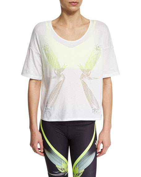 Alo Yoga Birds Of Paradise Graphic Short-Sleeve Top,