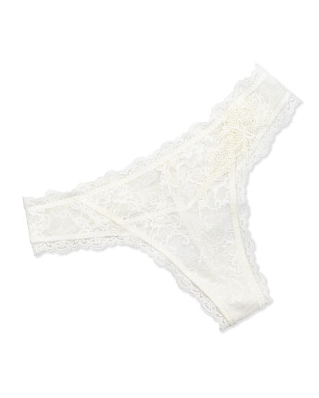 Love Magicienne Lace Thong, Dentelle Nacre