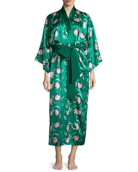 Olivia von Halle Queenie Dunaway Printed Silk Robe,