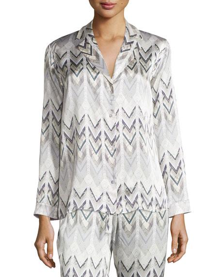 Asceno Chevron Long-Sleeve Satin Pajama Top