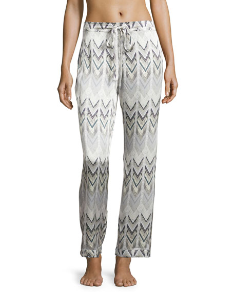 Asceno Chevron Satin Pajama Pants