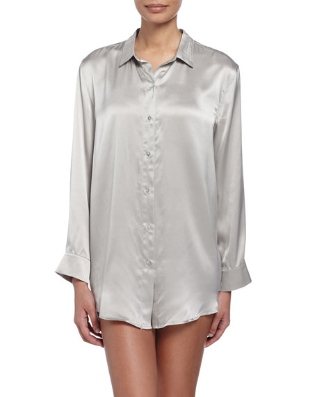 Asceno Paloma Silk Sleepshirt, Gray