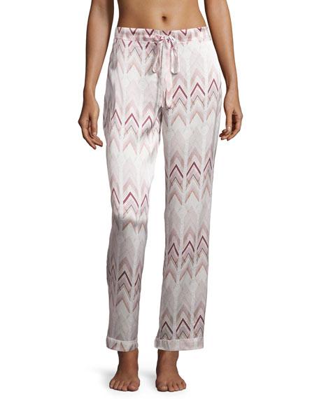 Asceno Chevron-Print Silk Pajama Pants, Rose