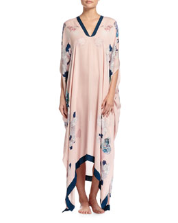 Butterfly Lovers Printed V-Neck Caftan, Pink