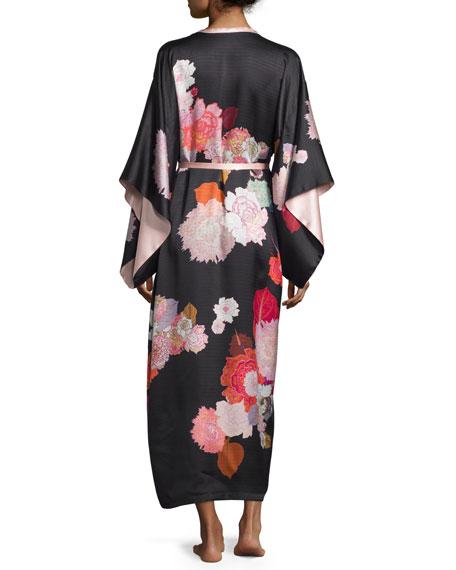Floral-Print Long Kimono Robe, Black