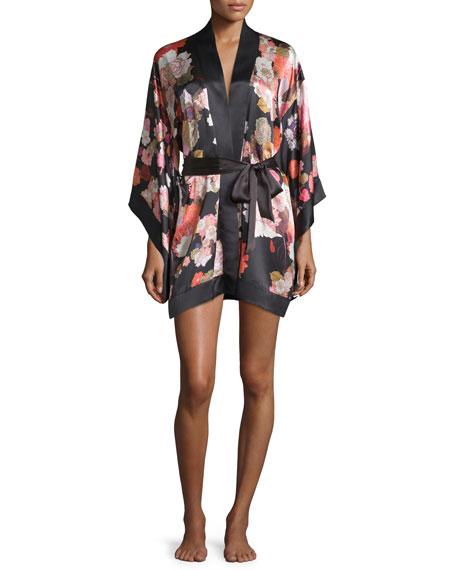 MENGFloral-Printed Short Kimono Robe, Black