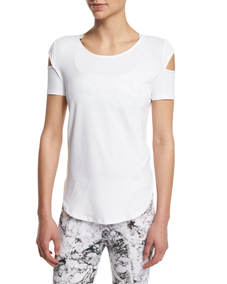 Varley Kinney Short-Sleeve Cutout Sport Top, White