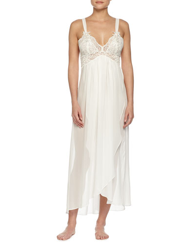 Embroidered-Lace Long Chiffon Gown, Ivory